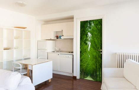 Tree-Lined Road Door Contact Paper Wall Sticker kitchen