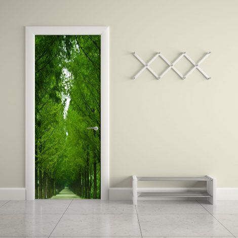 Tree-Lined Road Door Contact Paper Wall Sticker office