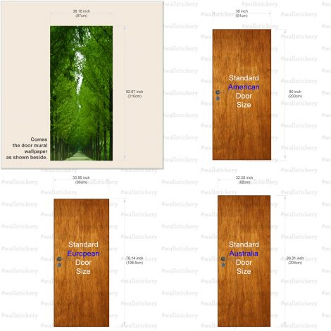 Tree-Lined Road Door Contact Paper Wall Sticker size