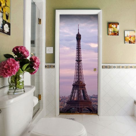 Eiffel Tower Door Contact Paper Wall Sticker bathroom
