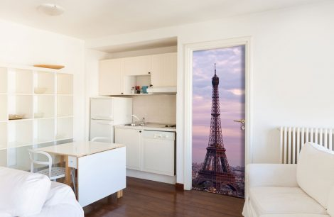 Eiffel Tower Door Contact Paper Wall Sticker kichen room