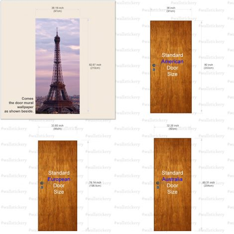 Eiffel Tower Door Contact Paper Wall Sticker size