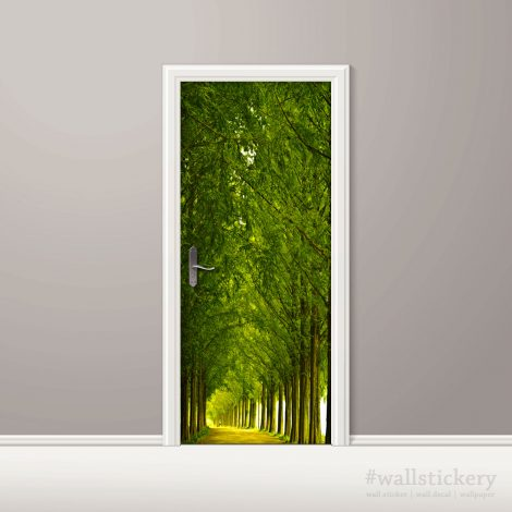 Wood and Road Door Contact Paper Wall Sticker