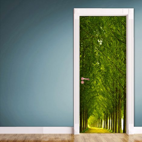 Wood and Road Door Contact Paper Wall Sticker bed room