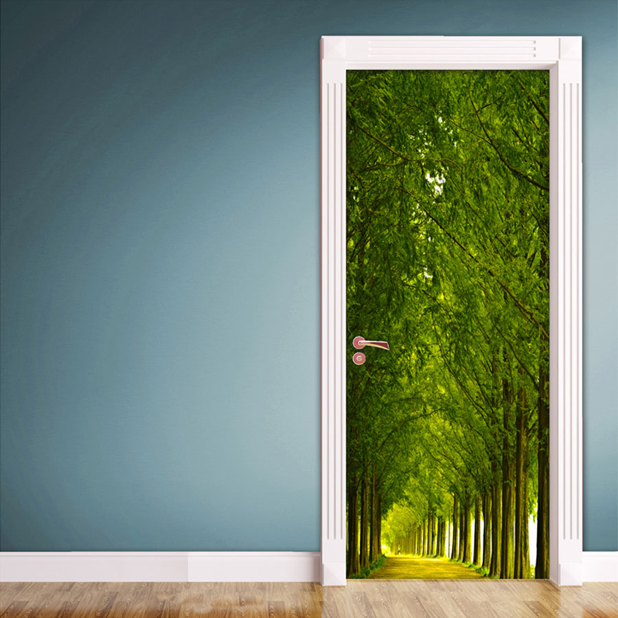 Do It Yourself Home Design: Wood And Road Door Contact Paper Wall Sticker
