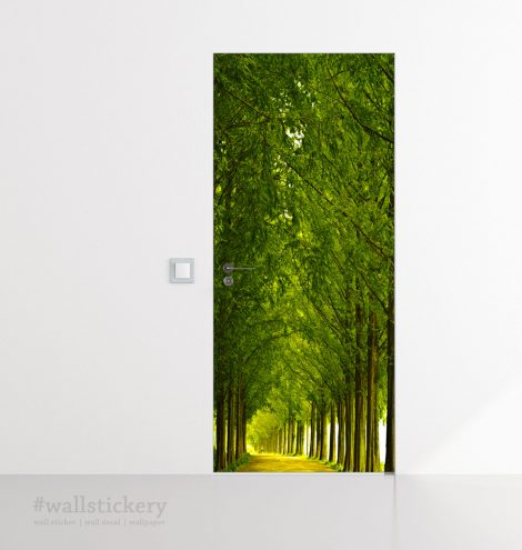 Wood and Road Door Contact Paper Wall Sticker office