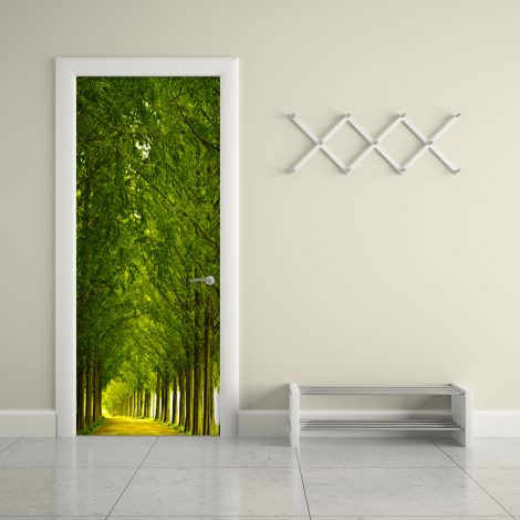Wood and Road Door Contact Paper Wall Sticker application