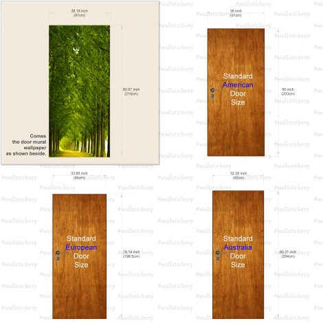 Wood and Road Door Contact Paper Wall Sticker size