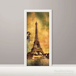 Old Photo Eiffel Tower Door Contact Paper