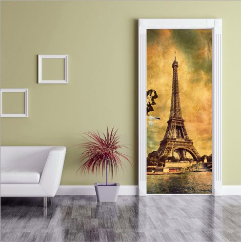 Old Photo Eiffel Tower Door Contact Paper decoration