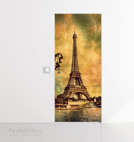Door Wall Sticker Contact Paper Self Adhesive Wallpaper Eiffel Tower Old Photo kids room