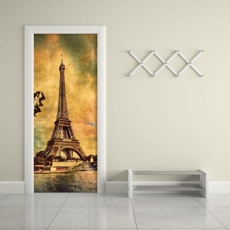 Door Wall Sticker Contact Paper Self Adhesive Wallpaper Eiffel Tower Old Photo