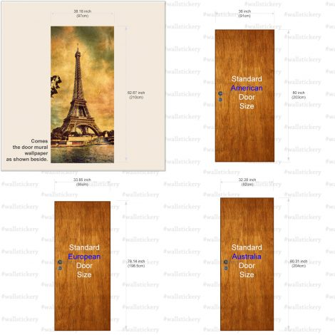 Old Photo Eiffel Tower Door Contact Paper size