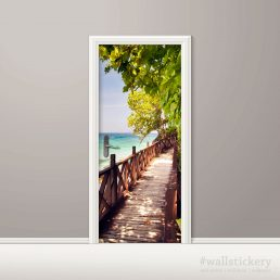 Wood Bridge on The Sea Door Contact Paper