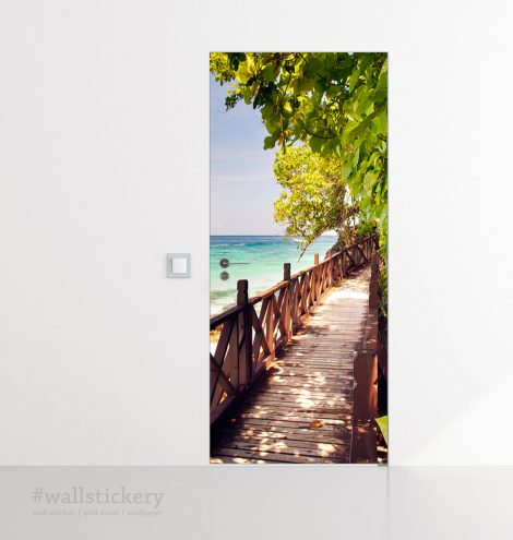Wood Bridge on The Sea Door Contact Paper display