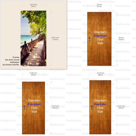 Wood Bridge on The Sea Door Contact Paper size