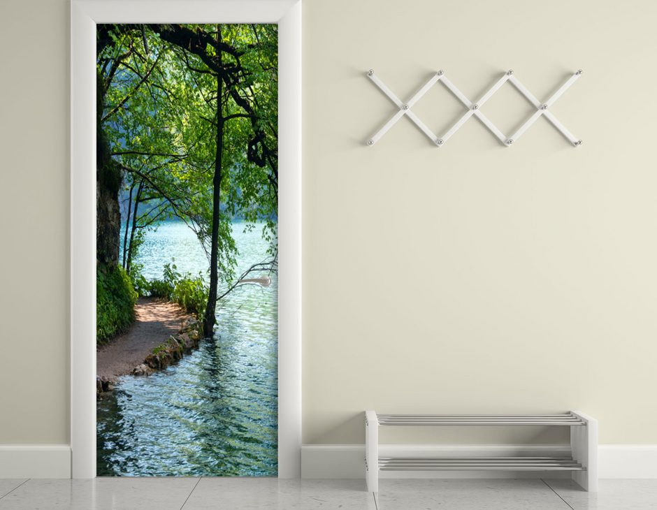 Lakeside path door contact paper wall sticker for Door mural wallpaper
