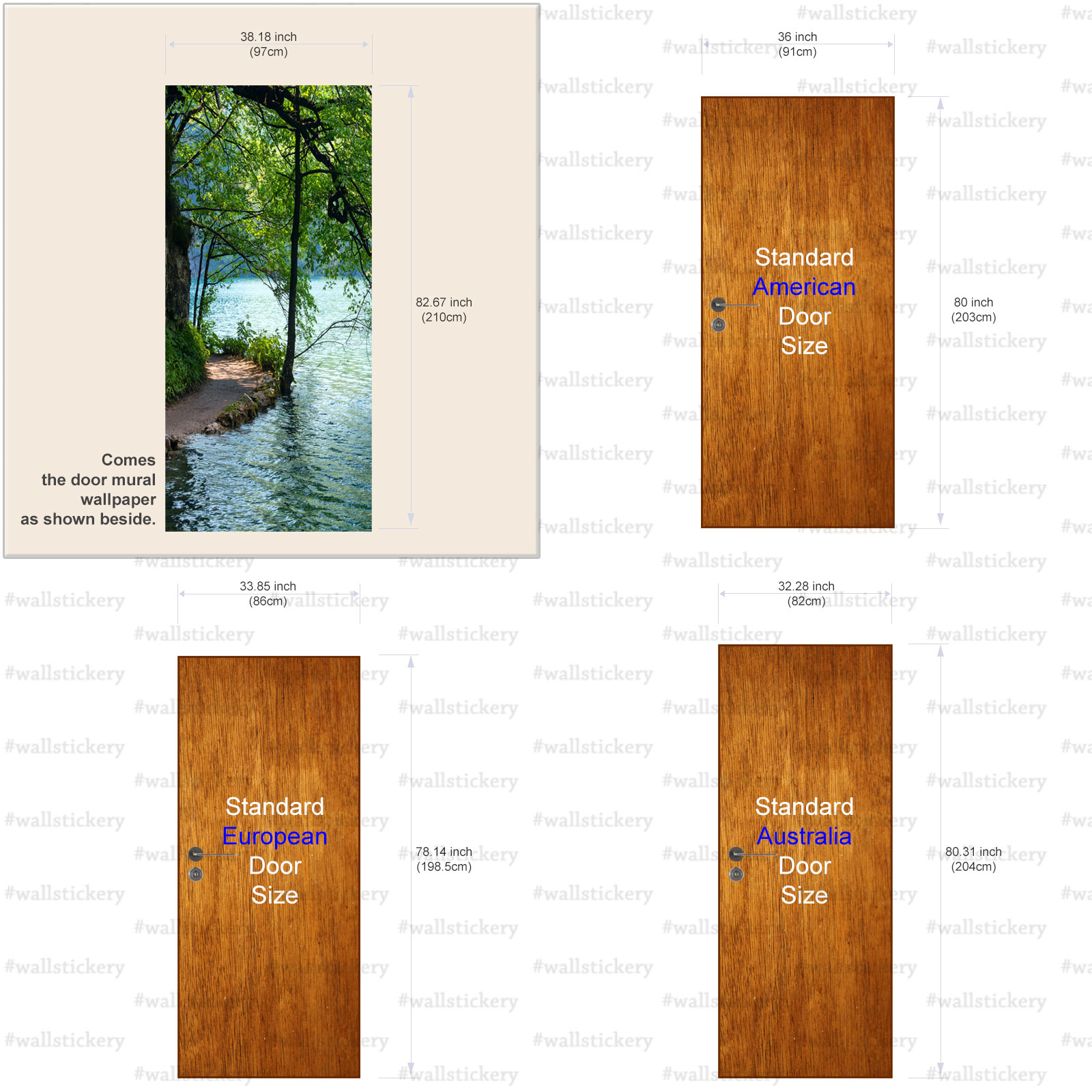 Lakeside Path Door Contact Paper Wall Sticker size  sc 1 st  wallstickery.com & Lakeside Path Door Contact Paper Wall Sticker