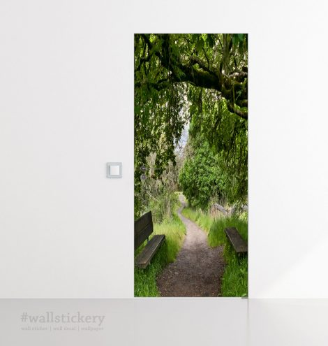 Door Contact Paper Woodland Path Wall Sticker application