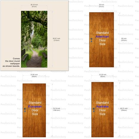 Door Contact Paper Woodland Path Wall Sticker size