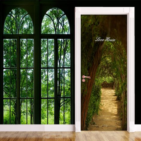 Door Contact Paper Self Adhesive Covering Woodland Path Decor