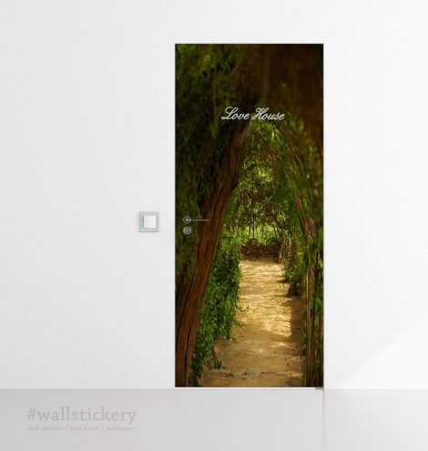 Door Contact Paper Self Adhesive Covering Woodland Path application