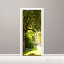 Door Contact Paper Self Adhesive Wallpaper A Big Tree and Path