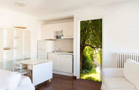 Door Contact Paper Self Adhesive Wallpaper A Big Tree and Path Kitchen