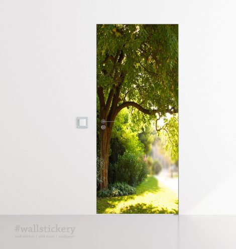 Door Contact Paper Self Adhesive Wallpaper A Big Tree and Path Room