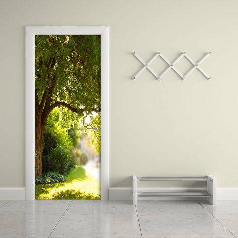 Door Contact Paper Self Adhesive Wallpaper A Big Tree and Path Living Room