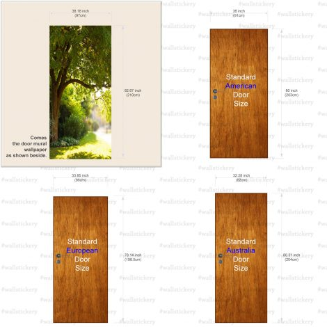 Door Contact Paper Self Adhesive Wallpaper A Big Tree and Path Size Information