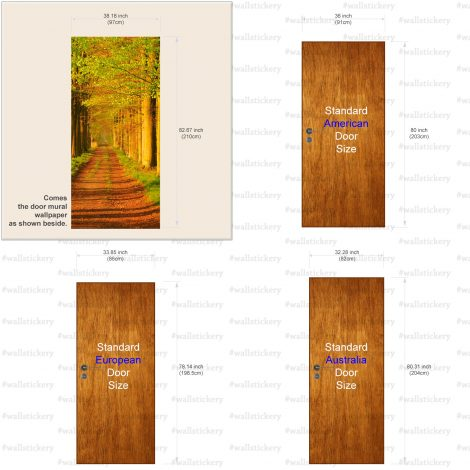 Door Contact Paper Self Adhesive Wallpaper Avenues of Sturdy Trees Size information