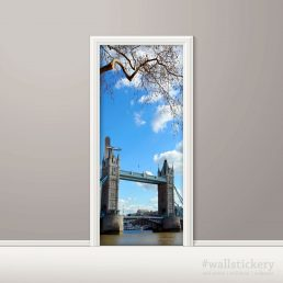 Door Covering Contact Paper Tower Bridge with Clouds
