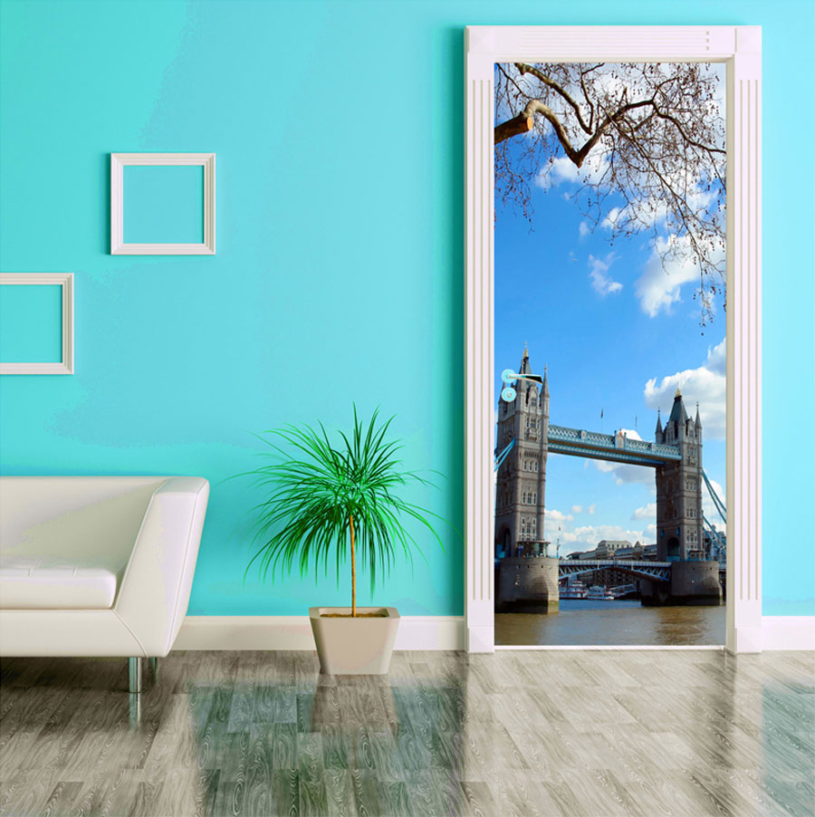 Door Covering Contact Paper Tower Bridge with Clouds bed room