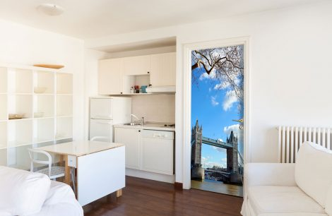 Door Covering Contact Paper Tower Bridge with Clouds kichen