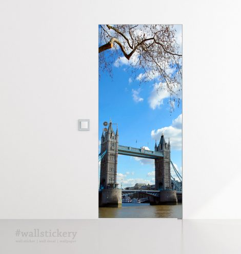 Door Covering Contact Paper Tower Bridge with Clouds office