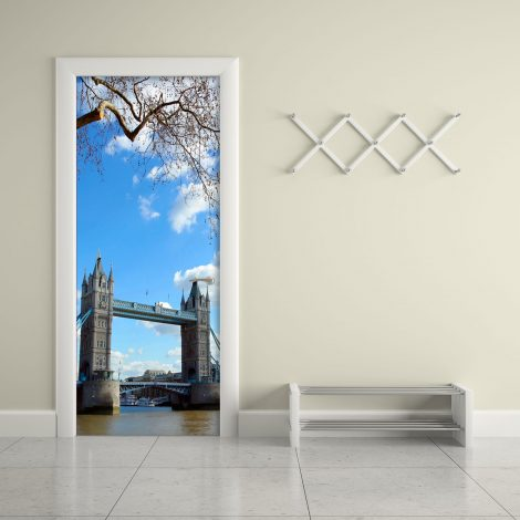 Door Covering Contact Paper Tower Bridge with Clouds Living room