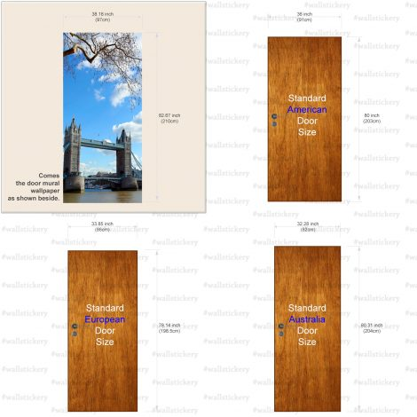 Door Covering Contact Paper Tower Bridge with Clouds size information