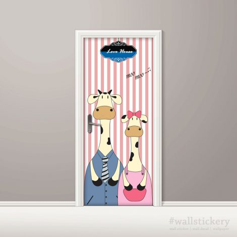 Door Contact Paper Self Adhesive Wallpaper A Milk Cow Couple Application