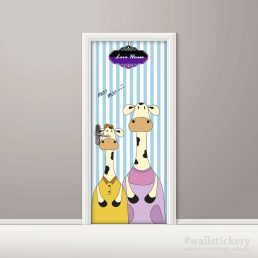 Door Contact Paper Peel Stick Mom and Kid Milk Cow