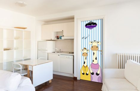 Door Contact Paper Peel Stick Mom and Kid Milk Cow Kitchen