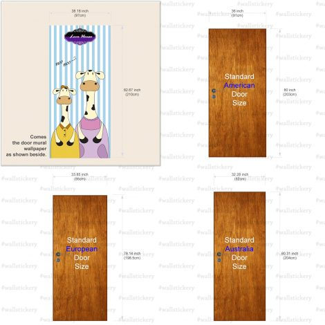 Door Contact Paper Peel Stick Mom and Kid Milk Cow Size Information