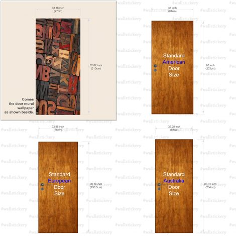 Door Contact Paper Self Adhesive Carved Wood Letters Size Information
