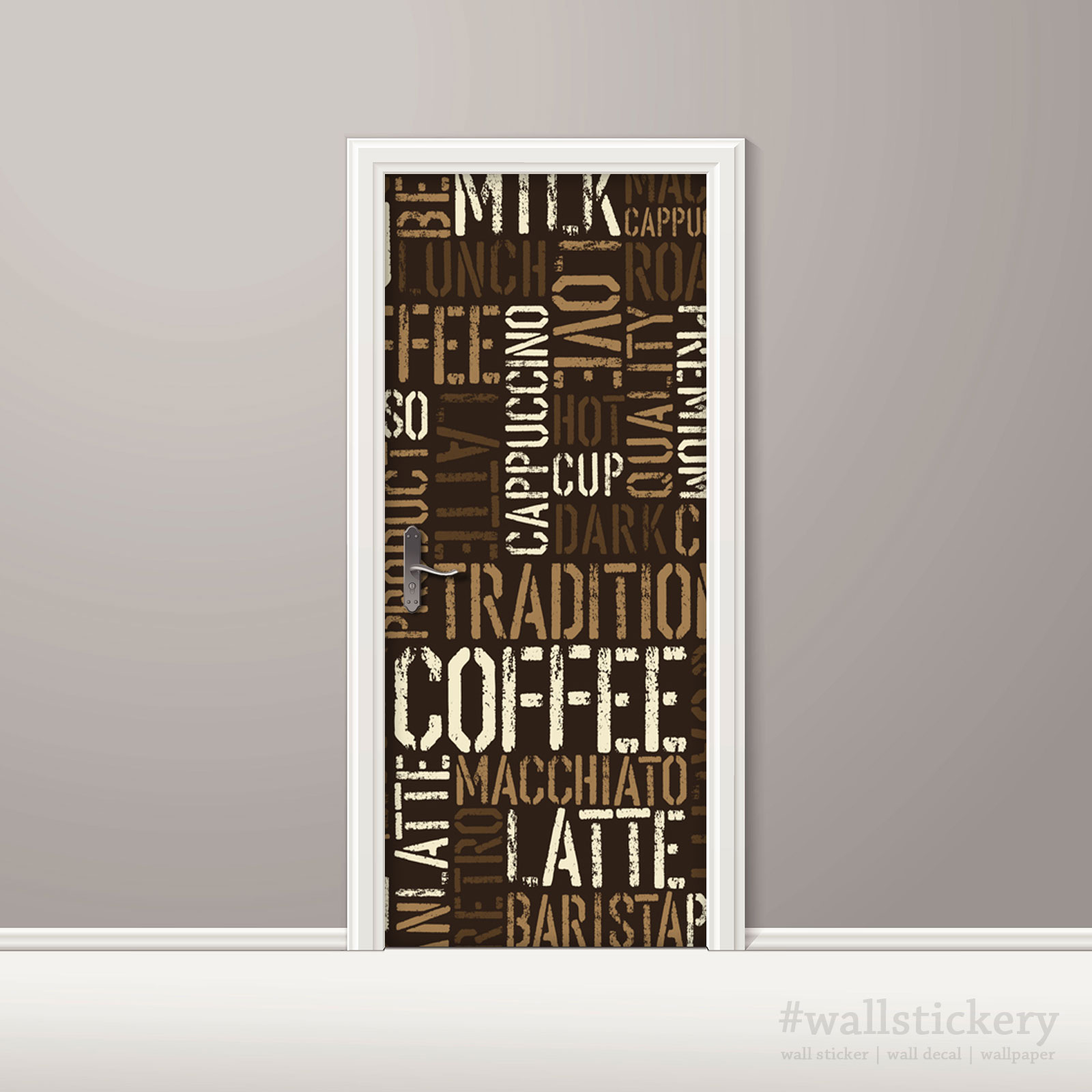 Coffee Letter Typography Door Contact Paper Peel Stick