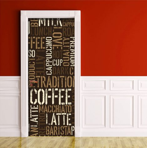 Coffee Letter Typography Door Contact Paper Peel Stick home