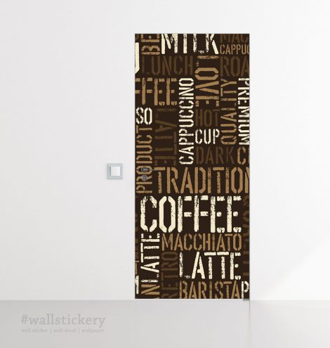 Coffee Letter Typography Door Contact Paper Peel Stick office