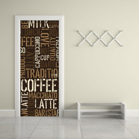 Coffee Letter Typography Door Contact Paper Peel Stick living room