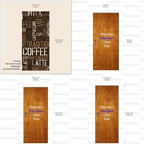 Coffee Letter Typography Door Contact Paper Peel Stick size information