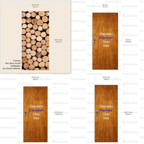 Stacked Log Door Contact Paper Peel Stick Covering Paper Size Information