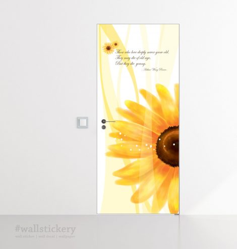 Sunflower Door Contact Paper Self Adhesive Peel Stick Application